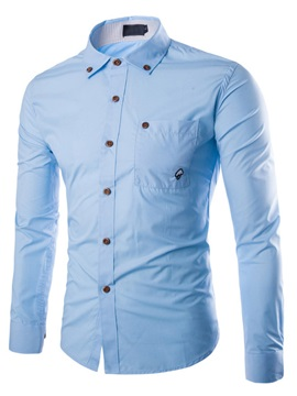 Single-Breasted Chest Pocket Men's Lapel Shirt