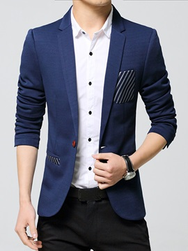 Oblique Line Decorated Pocket Men's Casual Blazer