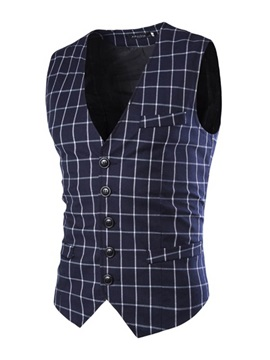 Plaid V-Neck Single-Breasted Men's Sleeveless Vest