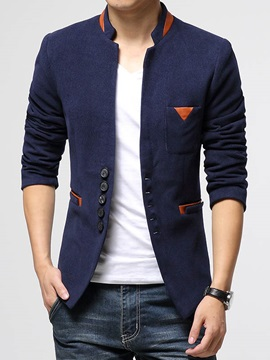 Tidebuy Stand Collar Plain Single-Breasted Men's Blazer