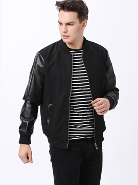 Solid Color Peaked Lapel Men's PU Patched Jacket