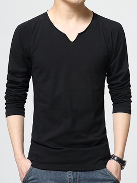 Slim Fit V-Neck Solid Color Men's T-Shirt