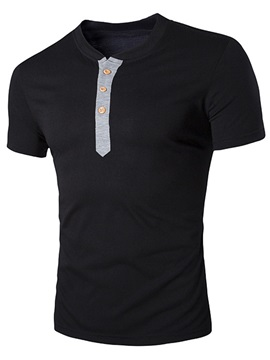 Color Block Short Sleeve Men's V-Neck Polo