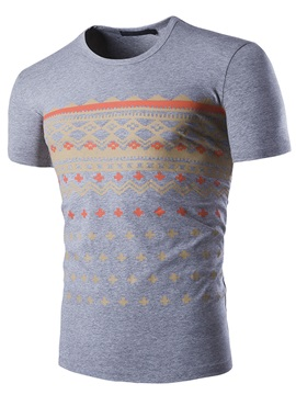 Curve Printed Short Sleeve Men's Casual Tee