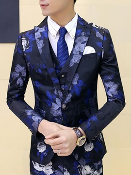 Floral Printed Slim Fit Three Pieces Men's Suit