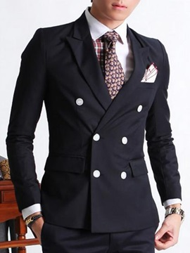 Solid Color Double-Breasted Men's Suit