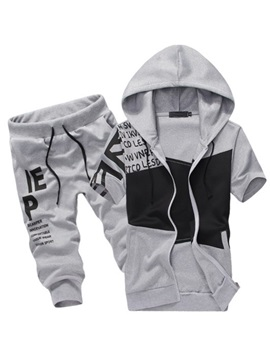 Zipper Hooded Letter Printed Men's Sports Suit