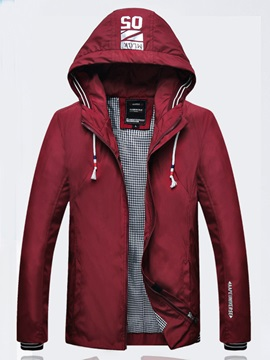 Zipper Casual Men's Color Block Jacket
