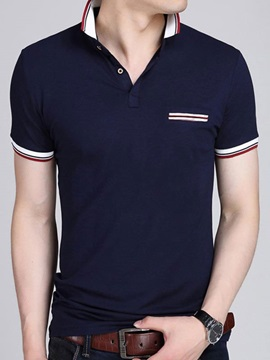 Mock Pocket Color Block Men's Casual Polo