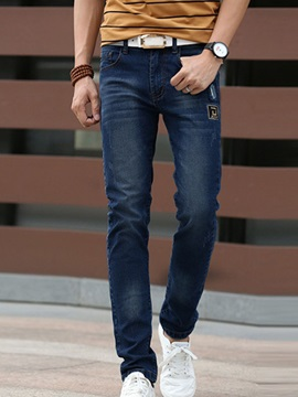 Straight Slim Fit Men's Mid-Waist Jeans