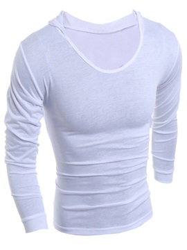Solid Color Casual Long Sleeve Men's T-Shirt with Hat