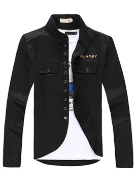Stand Collar Men's Jacket with Chest Pocket