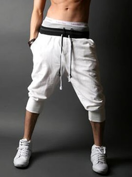 Lace-Up Waist Men's Solid Color Jogger Pants