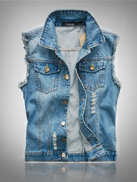 Single-Breasted Casual Men's Denim Vest