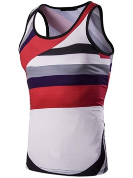 Stripe Slim Fit Men's Cotton Blends Vest