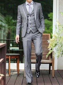 Slim Leisure Solid Color Wedding Three Pieces Men's Outfits
