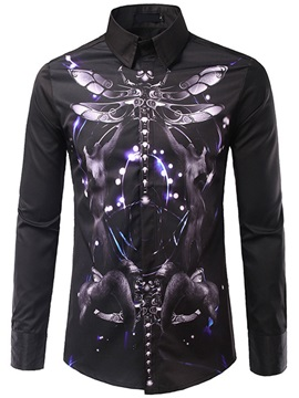 Animal Print Vogue Long Sleeve Men's Slim Shirt