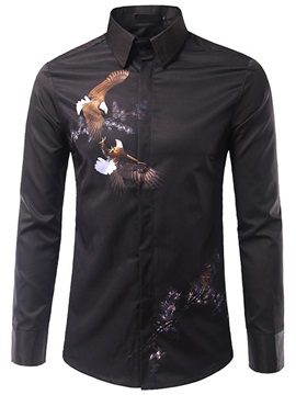 Chest Print Long Sleeve Men's Shirt