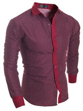 Color Block Casual Men's Single-Breasted Shirt