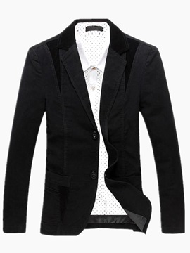 Color Block Pockets Men's Double-Button Blazer