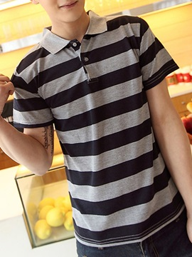 Loose Fit Bold Stripe Men's Casual Polo