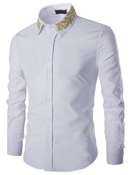 Vogue Embroidery Long Sleeve Men's Shirt