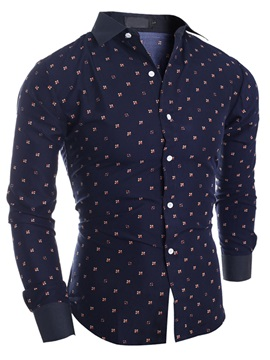 Cotton Blends Single-Breasted Men's Floral Shirt