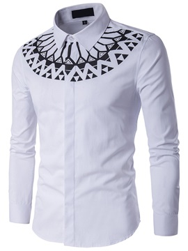 Geometric Print Slim Lapel Men's Shirt