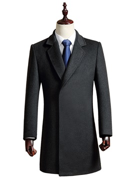 Lapel Solid Color Men's Long Pattern Coat