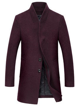 Long Wool Blends Three Button Men's Coat
