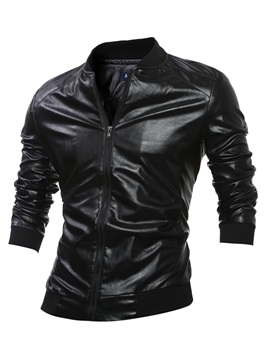 Stand Collar Men's Plain PU Jacket