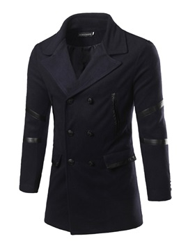 Lapel PU Patch Men's Causal Pea Coat