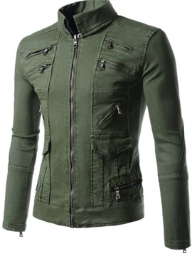 Multi-Zip Solid Color Men's Causal Jacket