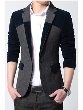 Patchwork Notched Collar Men's Slim Blzaer