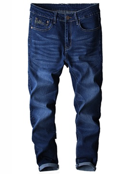 Elastic Straight Zipper Men's Dress Jeans