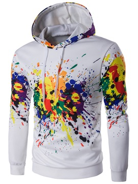 Lace-up Paint Splatters Leisure Men's Hoodie