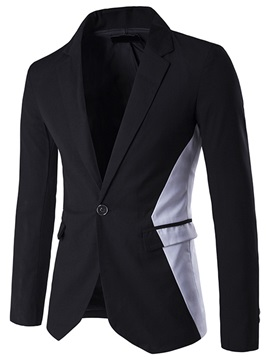 Patchwork Single-Button Men's Lapel Blazer