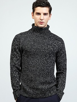 Plain High Collar Men's Long Sleeve Sweater