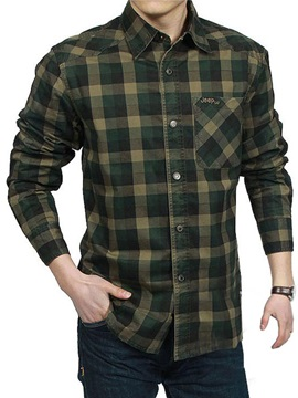 Casual Plaid Cotton Blends Men's Loose Fit Shirt