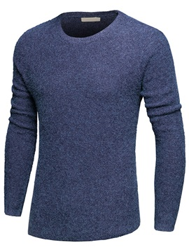 Irregular Crew Neck Men's Casual Plain Sweater