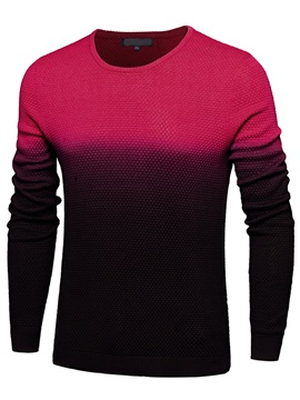 Patchwork Round Neck Men's Casual Long Sleeve Sweater