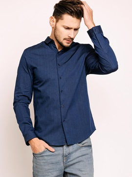 Turn Down Collar Single-Breasted Long Sleeve Men's Shirt