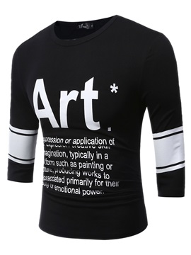 Letter Print Slim Leisure Men's Short Sleeve T-shirt
