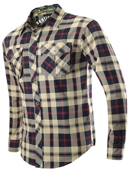 Lapel Plaid Pockets Men's Casual Shirt