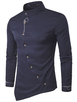 Oblique Single-Breasted Men's Slim Shirt