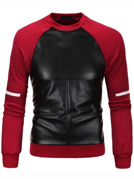 PU Patch Single Men's Leisure Hoodie