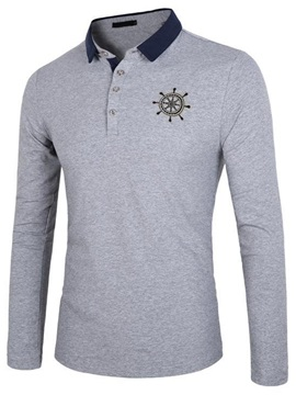 Embroidery Lapel Loose Leisure Men's Polos