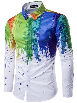 Colorful Splashed paint Lapel Men's Shirt