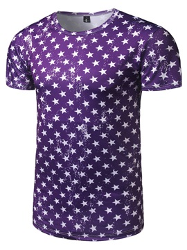 Star Print Slim Fashion Men's T-shirt