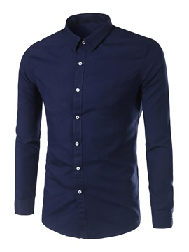 Plain Pure Color Lapel Men's Simple Shirt